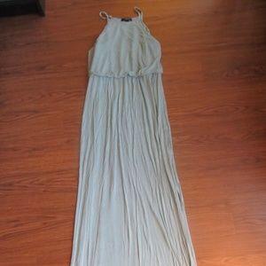 Turquoise Maxi Spaghetti Strap Dress with Slit